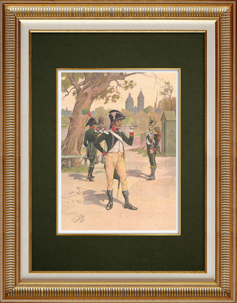 Antique Prints & Drawings | Regiment of La Tour d'Auvergne in Wissembourg - Alsace - France (1805-1809) | Print | 1911