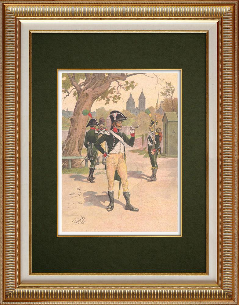 Antika Tryck & Ritningar | Regiment av La Tour d'Auvergne i Wissembourg - Elsass - Frankrike (1805-1809) | Grafik | 1911