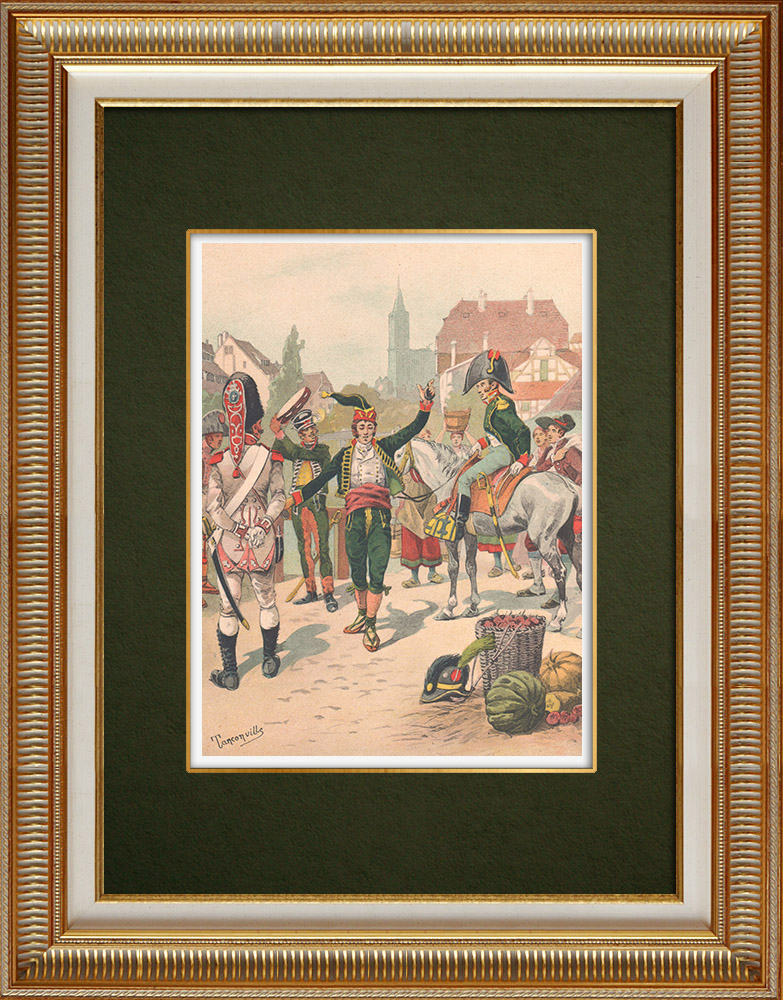 Antique Prints & Drawings | The spanish Regiment La Romana in Strasbourg - Alsace - France (1805) | Print | 1911