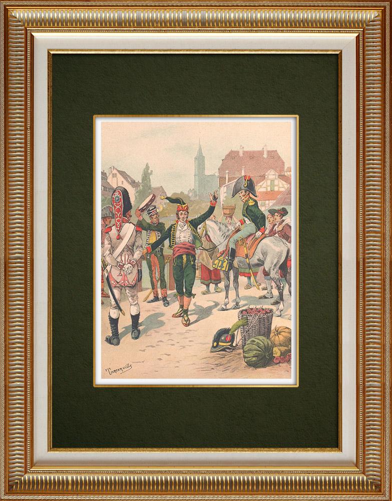Oude Prenten & Tekeningen | Het Spaanse Regiment la Romana in Straatsburg - Elzas - Frankrijk (1805) | Druck | 1911