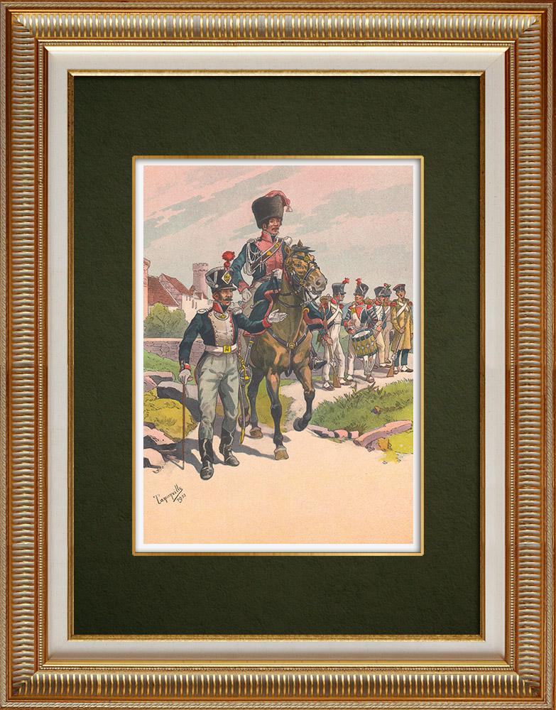 Grabados & Dibujos Antiguos | General Rapp y su estado mayor en Alsacia - Francia (1815) | Estampa | 1911