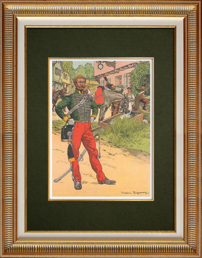 Oude Prenten & Tekeningen | Regiment van Jägers in Neuf-Brisach - Elzas - Frankrijk (1825) | Druck | 1911