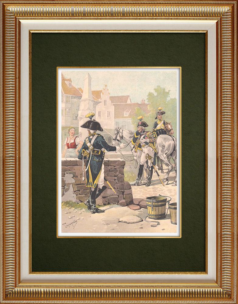 Oude Prenten & Tekeningen | 10e Cavalerieregiment in Colmar - Elzas - Frankrijk (1803) | Druck | 1911