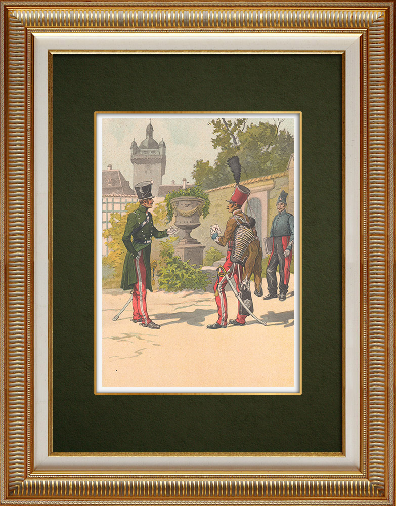 Antique Prints & Drawings | Regiments of the Meurthe and Jura Hussars - Alsace - France (1819) | Print | 1911