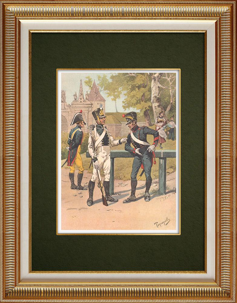 Grabados & Dibujos Antiguos | Gendarmería - Regimiento de Pioneros en Estrasburgo - Alsacia - Francia (1819) | Estampa | 1911