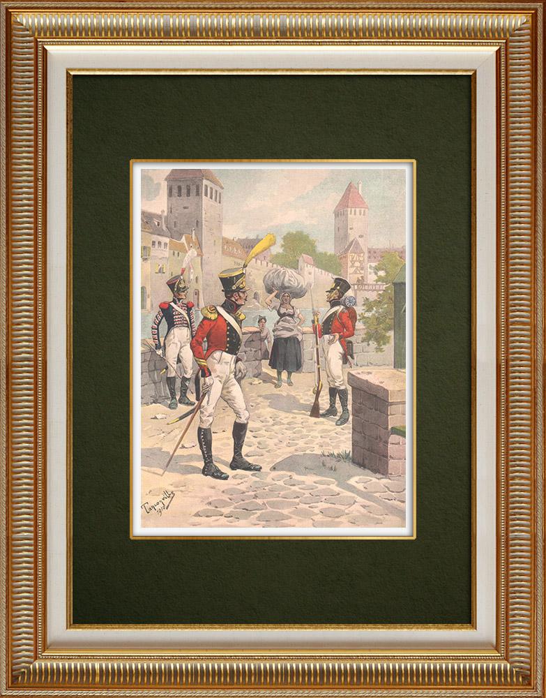 Antique Print & Etching   Schweizer-Regiment von Steiner in Strassburg - Elsass - Frankreich (1818)   Grafik   1911