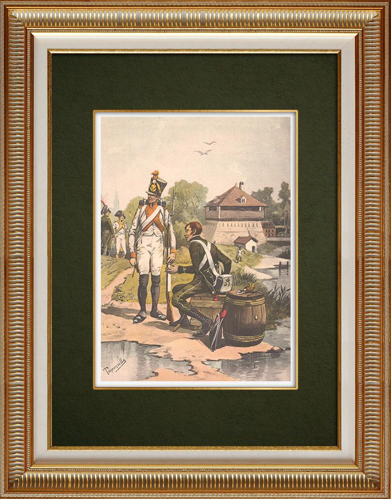 Grabados & Dibujos Antiguos | Oficiales de aduanas del Rin (1810) | Estampa | 1911