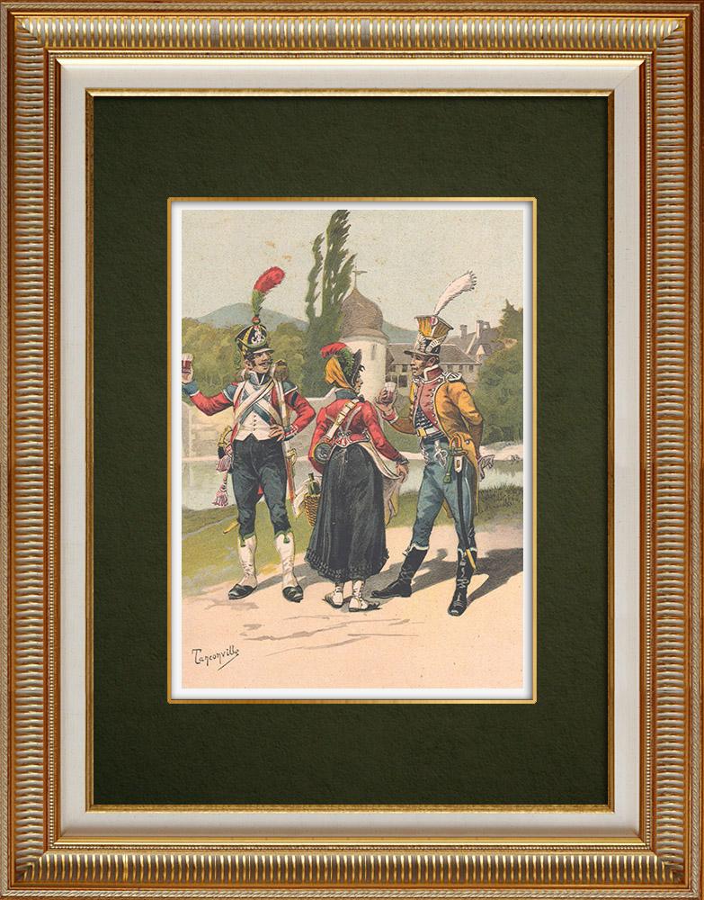 Antika Tryck & Ritningar   Lätta Infanteriregimentet - Vivandiere - Musiker - Frankrike (1809)   Grafik   1911