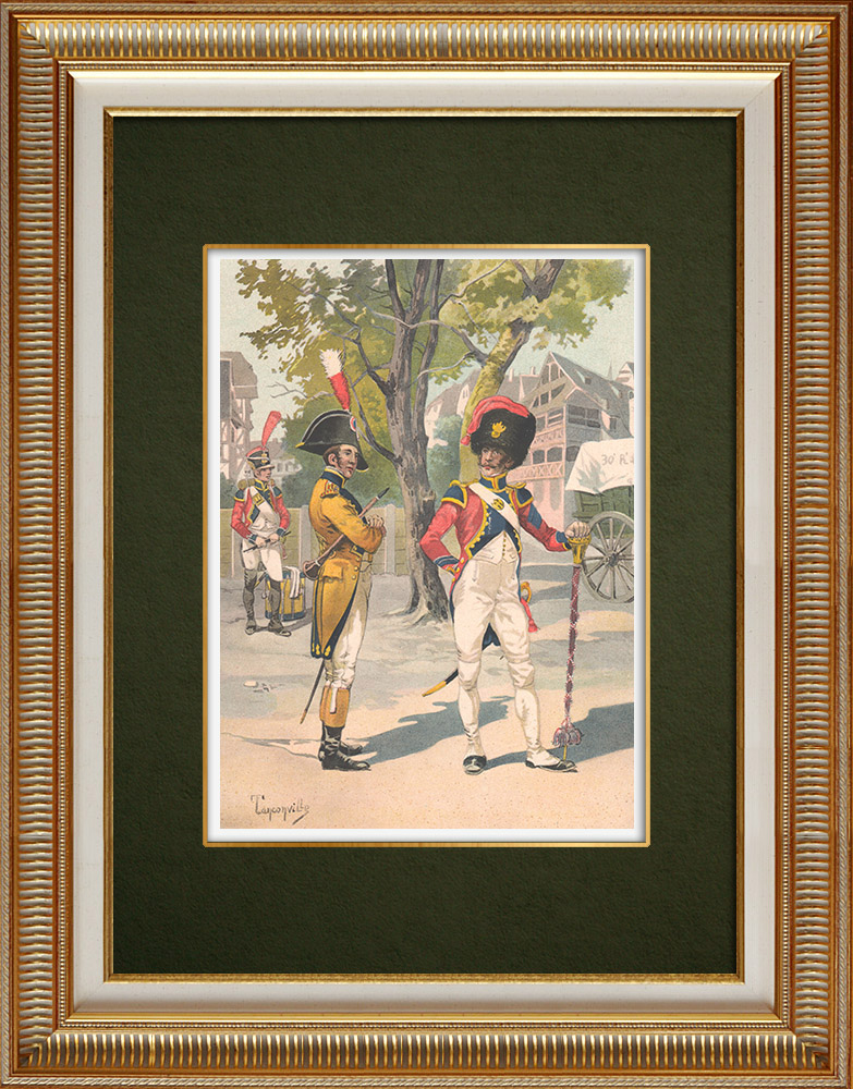 Antika Tryck & Ritningar | Infanteri - Tamburmajor - Musiker (1809-1810) | Grafik | 1911