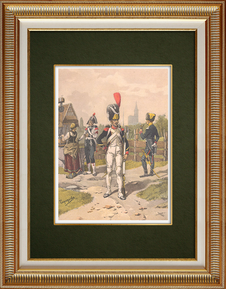 Gravures Anciennes & Dessins | Division de Grenadiers et Voltigeurs d'Oudinot à Strasbourg - Alsace - France (1807) | Impression | 1911
