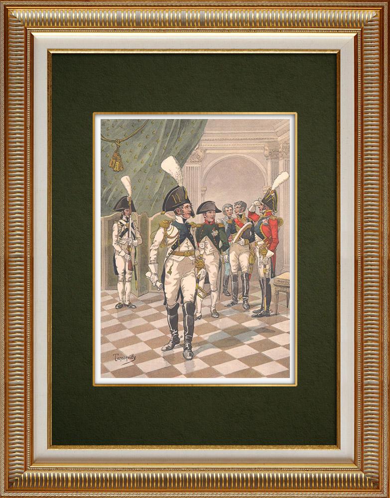 Gravures Anciennes & Dessins | Napoléon Ier et la Garde d'honneur de Strasbourg - Alsace - France (1806) | Impression | 1911