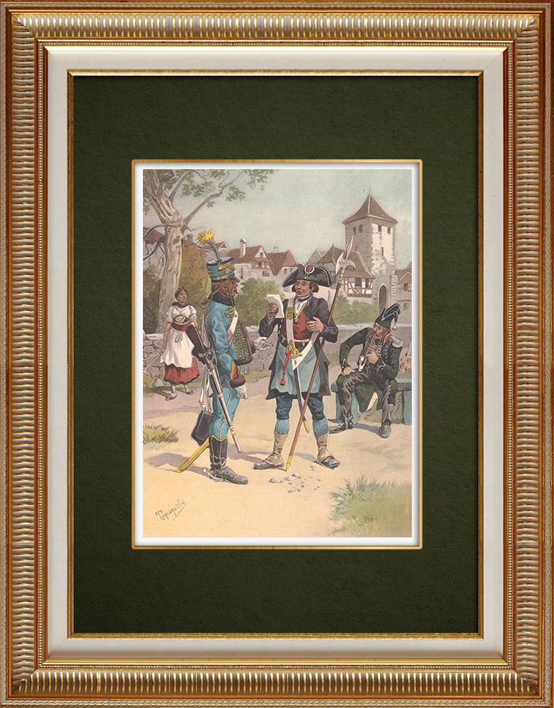 Antika Tryck & Ritningar | Regimenter av Hussars - Haguenau et Schlettstadt - Elsass - Frankrike (1803) | Grafik | 1911
