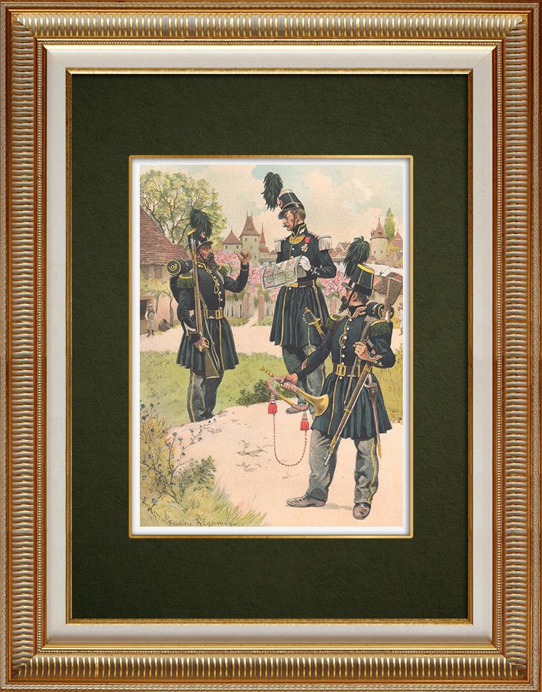 Antique Print & Etching | Karabinier in Straßburg - Elsass - Frankreich (1843) | Grafik | 1911