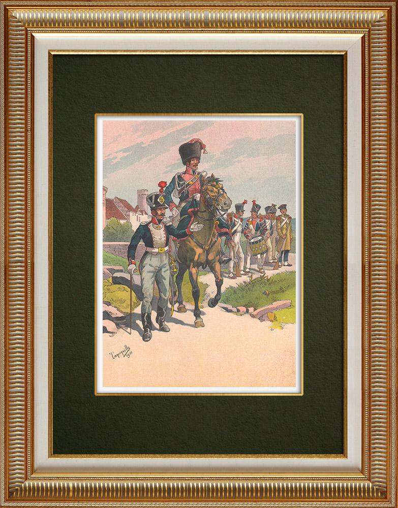 Grabados & Dibujos Antiguos | Infantería - Guardia Nacional - Guide du gouverneur - Estrasburgo - Alsacia - Francia (1813-1815) | Estampa | 1911