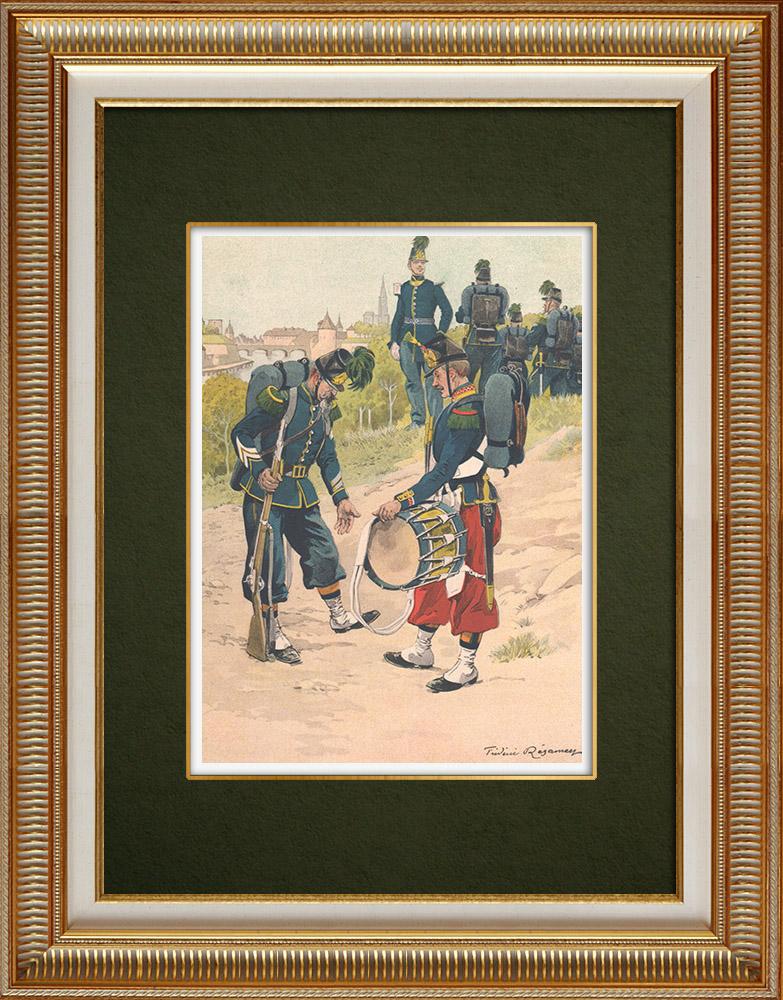 Oude Prenten & Tekeningen | Jägers en Infanterie in Straatsburg - Elzas - Frankrijk (1862) | Druck | 1911