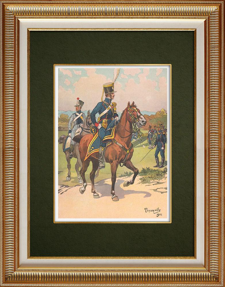 Oude Prenten & Tekeningen | Artillerie te Voet en te Paard in Straatsburg - Elzas (1819) | Druck | 1911