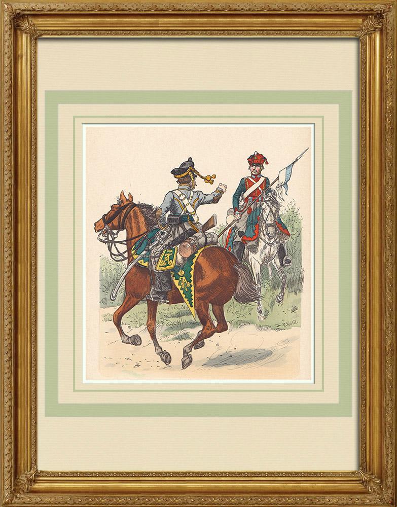Oude Prenten & Tekeningen | Russische Huzaren - Militair Uniform (1813) | Houtgravure | 1890
