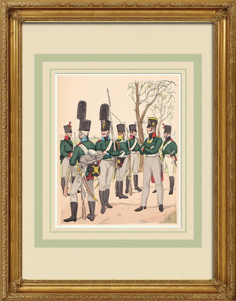 Grabados & Dibujos Antiguos | Granadero - Infantería - Artillería - Ejército Ruso - Traje militar (1807) | Grabado xilográfico | 1890