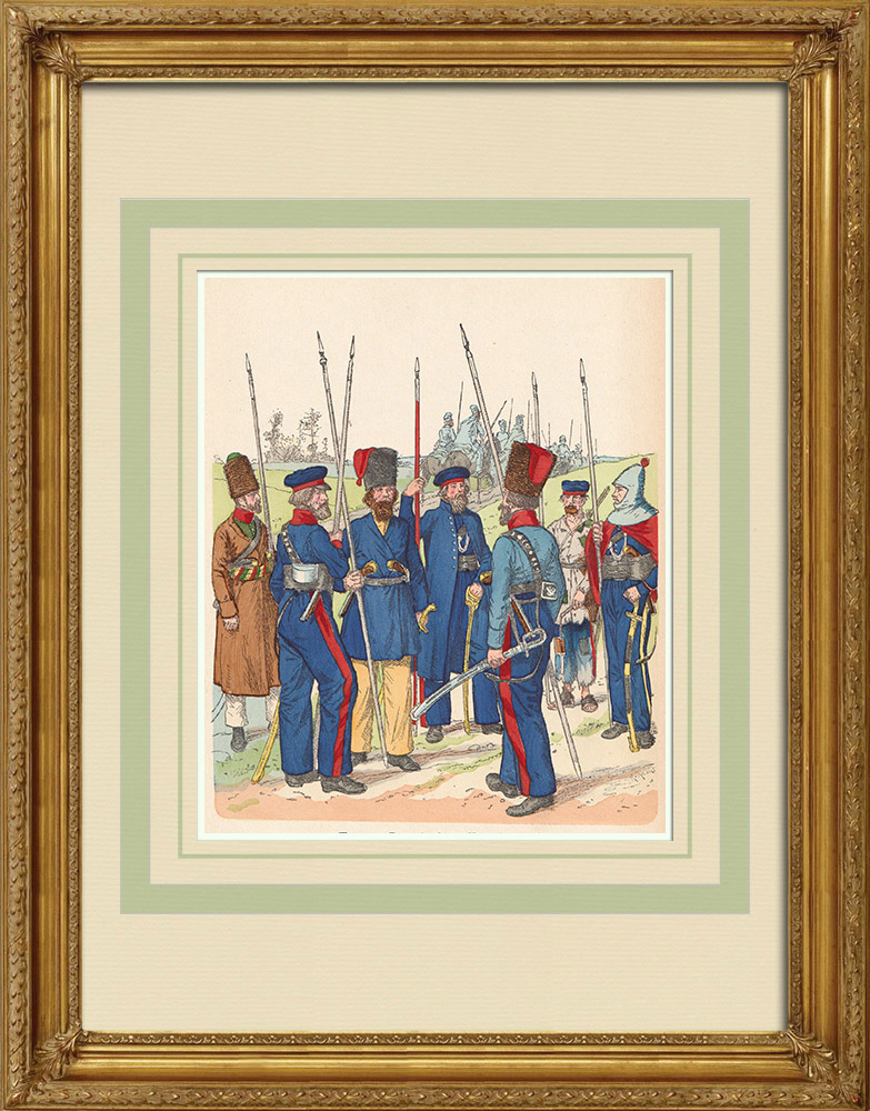 Antique Prints & Drawings | Russian Cossacks - Russian Army - Military uniform (1813-1814) | Wood engraving | 1890