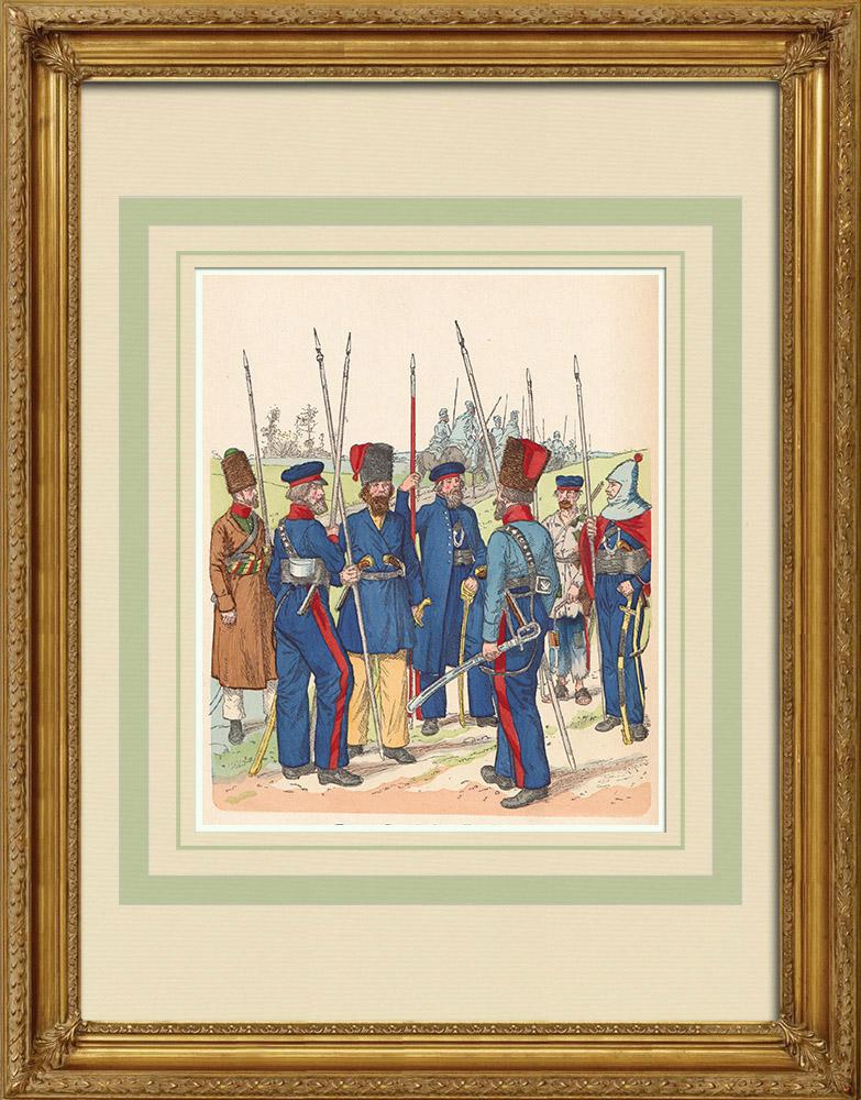 Antika Tryck & Ritningar | Ryska kosackar - Rysk Armé - Militär uniform (1813-1814) | Träsnitt | 1890
