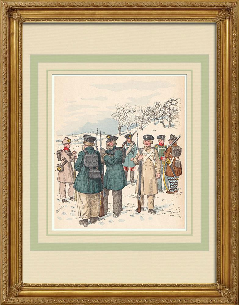 Grabados & Dibujos Antiguos | Landwehr rusa - Ejército Ruso - Traje militar (1812-1814) | Grabado xilográfico | 1890