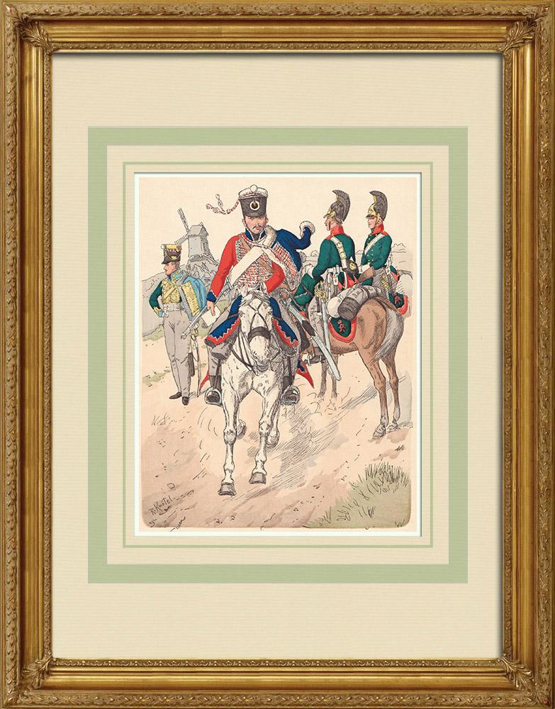 Grabados & Dibujos Antiguos | Húsares y Dragones rusos - Ejército Ruso - Traje militar (1807) | Grabado xilográfico | 1890