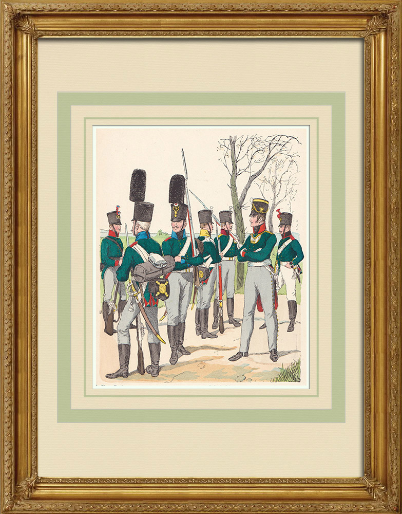 Antique Prints & Drawings | Grenadier - Infantry - Artillery - Russian Army - Military uniform (1807) | Wood engraving | 1890