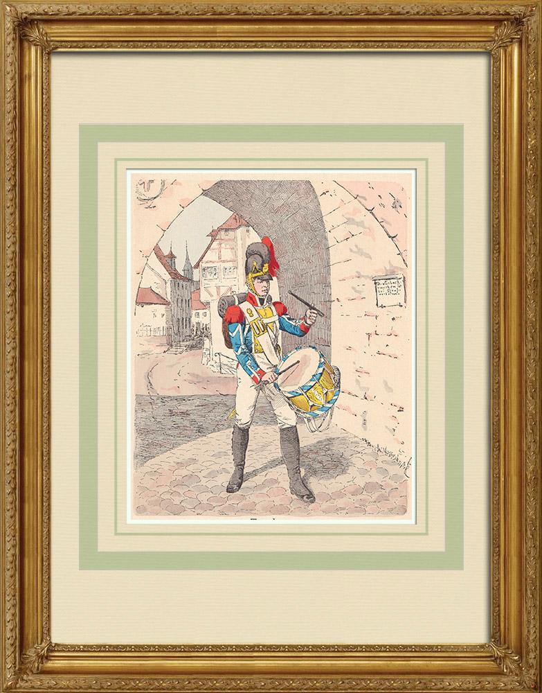 Grabados & Dibujos Antiguos | Granaderos - Tambor - Infantería - Baviera - Alemania (1809) | Grabado xilográfico | 1890