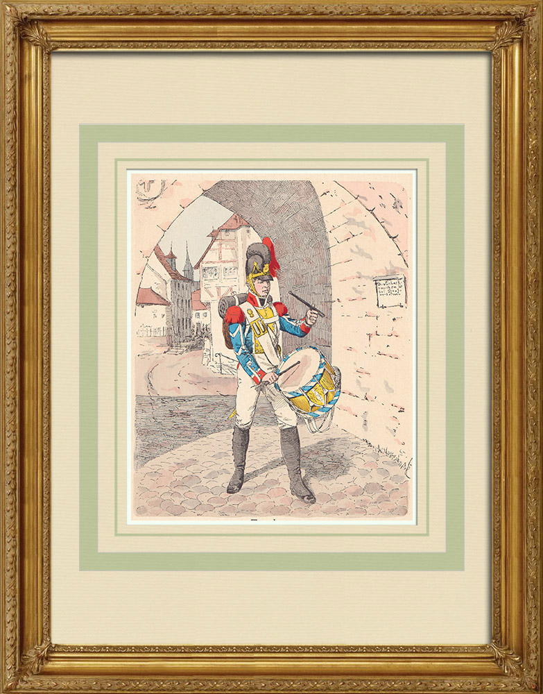 Gravuras Antigas & Desenhos | Granadeiros - Tambor - Infantaria - Baviera - Alemanha (1809) | Xilogravura | 1890