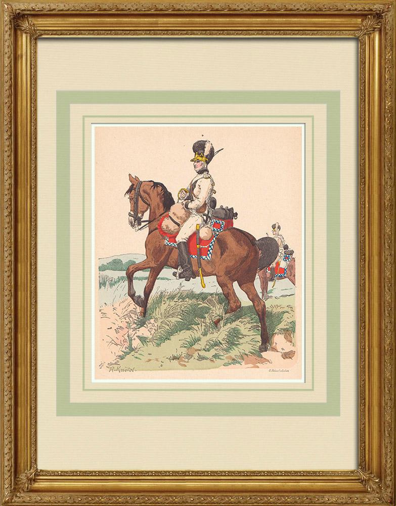 Antique Print & Etching | Dragoner - Deutschen Armee - Militärkleidung - Bayern - Deutschland (1804) | Holzstich | 1890