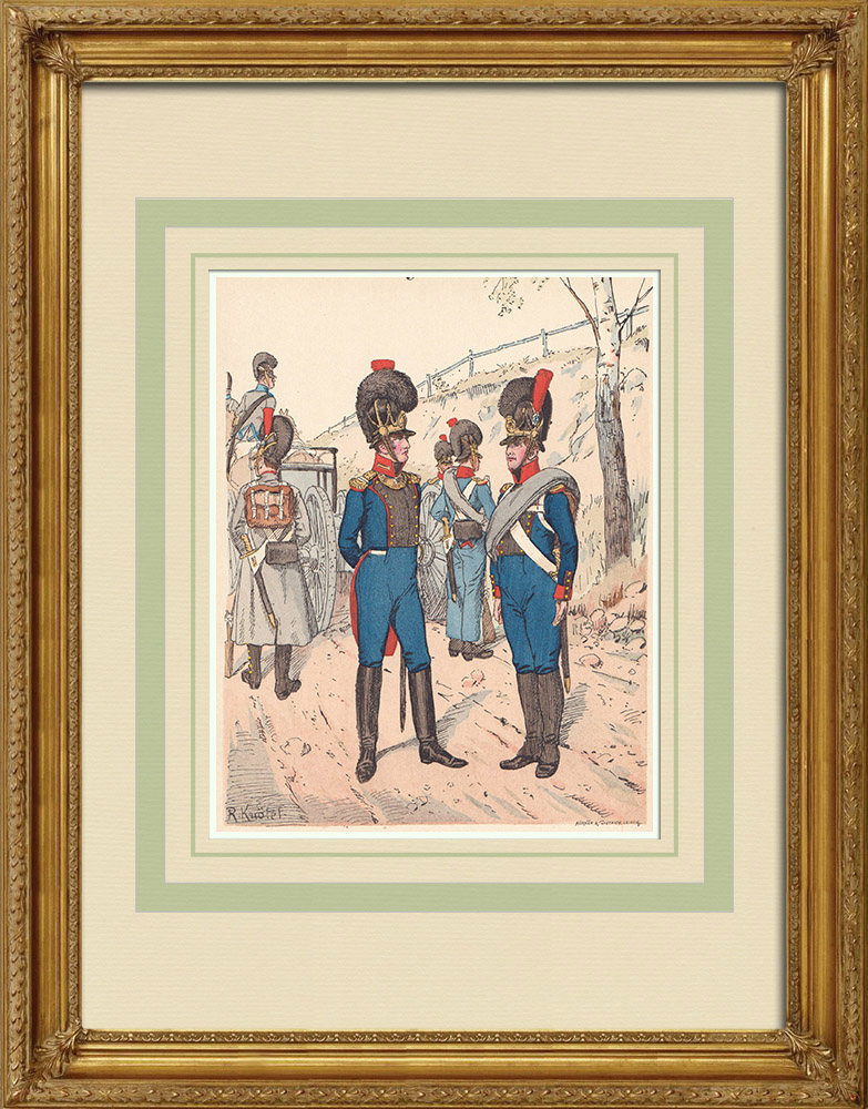 Antique Prints & Drawings | Royal Bavarian Artillery - Military uniform - Germany (1812) | Wood engraving | 1890