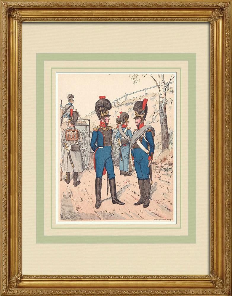 Antika Tryck & Ritningar | Royal Bavarian Artillery - Militär uniform - Tyskland (1812) | Träsnitt | 1890