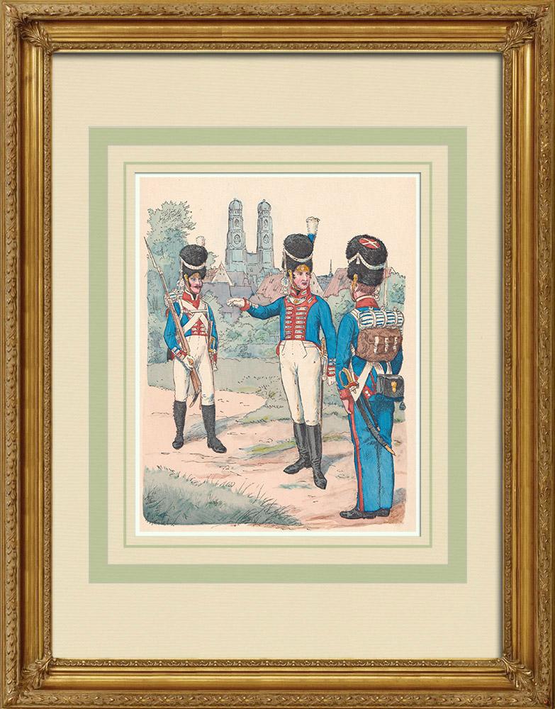 Gravures Anciennes & Dessins | Grenadier de l'Infanterie royale de Bavière - Uniforme militaire - Allemagne (1814) | Gravure sur bois | 1890