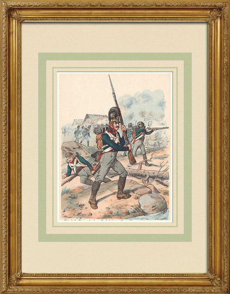 Antika Tryck & Ritningar | Infanteri av det Bayerska regimentet av Berklau - Tyskland - Militär uniform (1812) | Träsnitt | 1890