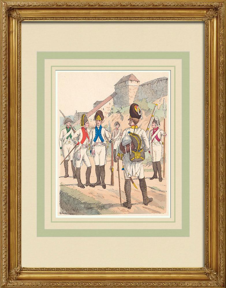 Gravures Anciennes & Dessins | Infanterie de Saxe - Allemagne - Uniforme militaire (1802) | Gravure sur bois | 1890