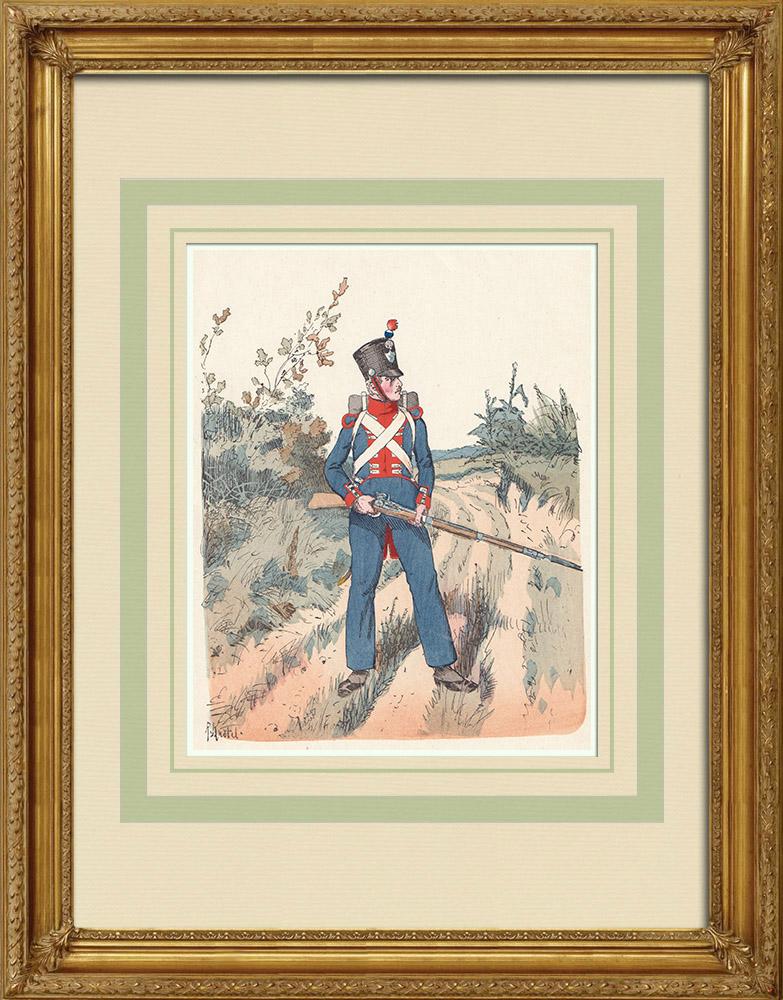 Stare Grafiki & Rysunki | Leibgarde Regiment - Hesja-Darmstadt - Niemcy - Mundur Wojskowy (1809) | Drzeworyt | 1890