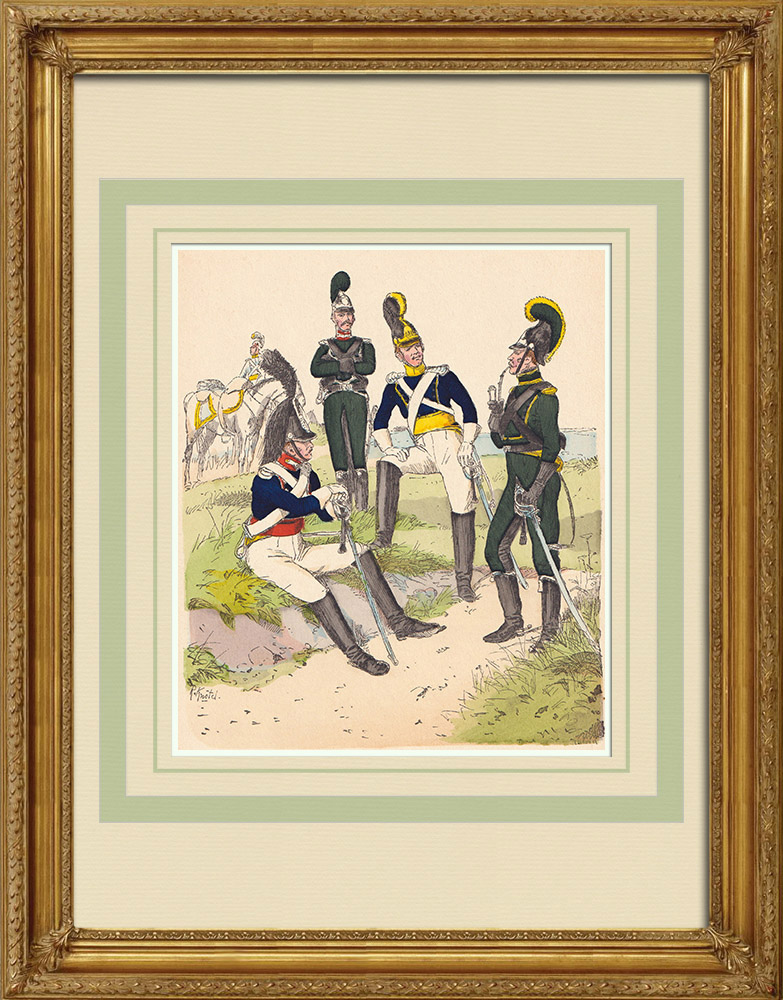 Antique Prints & Drawings | Cavalry of the Kingdom of Württemberg - Military uniform (1812) | Wood engraving | 1890