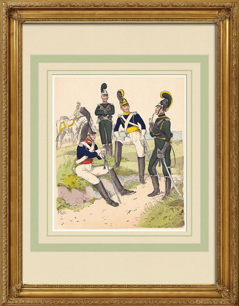 Grabados & Dibujos Antiguos | Caballería del Reino de Wurtemberg - Traje militar (1812) | Grabado xilográfico | 1890