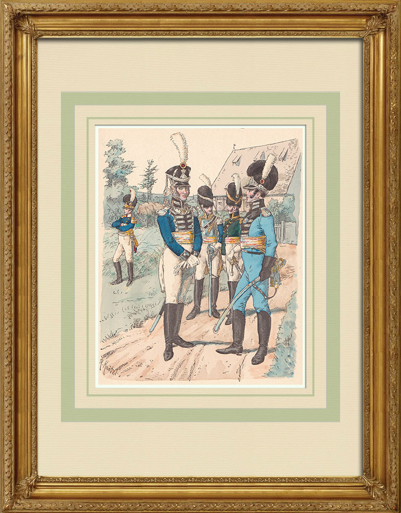 Stare Grafiki & Rysunki | Oficerowie Królestwa Wirtembergii - Mundur Wojskowy (1812) | Drzeworyt | 1890