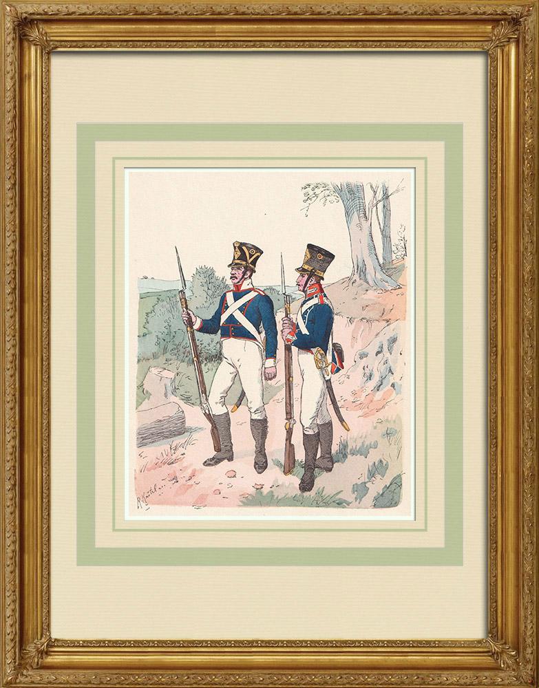 Antika Tryck & Ritningar | Kungariket Württemberg Infanteri - Militär uniform (1813) | Träsnitt | 1890