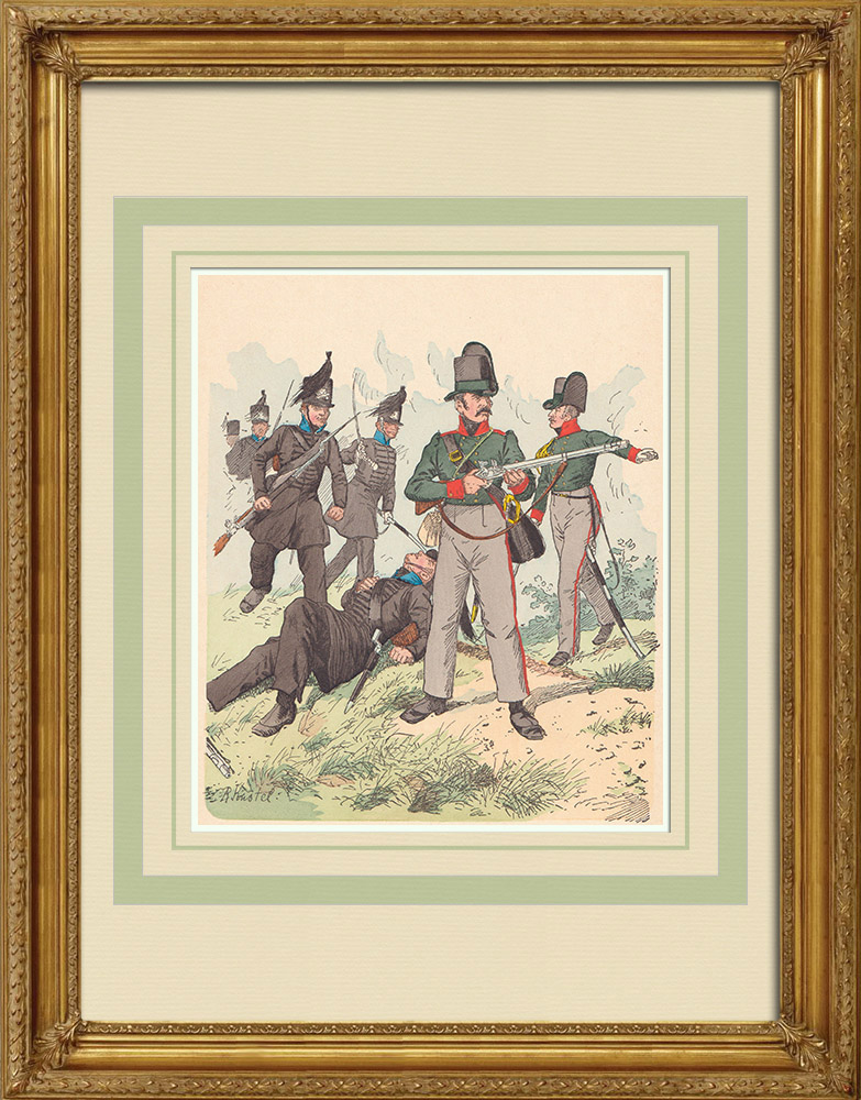 Antique Print & Etching | Herzoglich Braunschweigisches Korps - Niedersachsen - Rheinbund (1809) | Holzstich | 1890