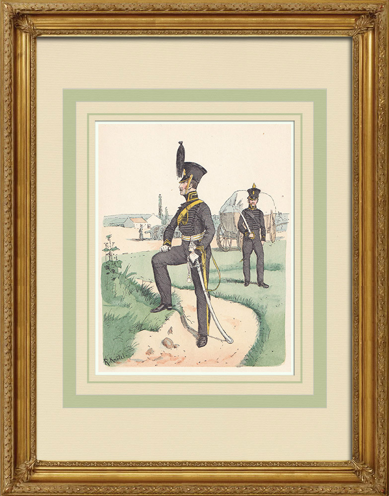Antique Prints & Drawings | Artillery Officer of Brunswick - Lower Saxony - Rhine Confederation (1815) | Wood engraving | 1890