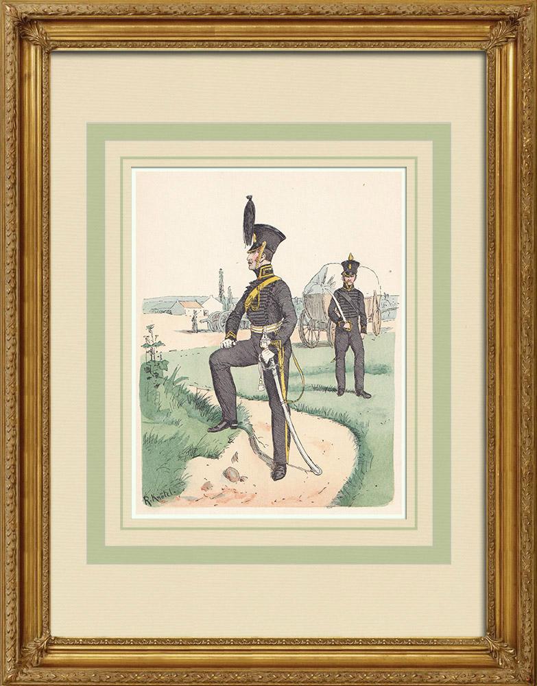 Grabados & Dibujos Antiguos | Oficial d'Artilleria de Brunswick - Baja Sajonia - Confederación del Rin (1815) | Grabado xilográfico | 1890
