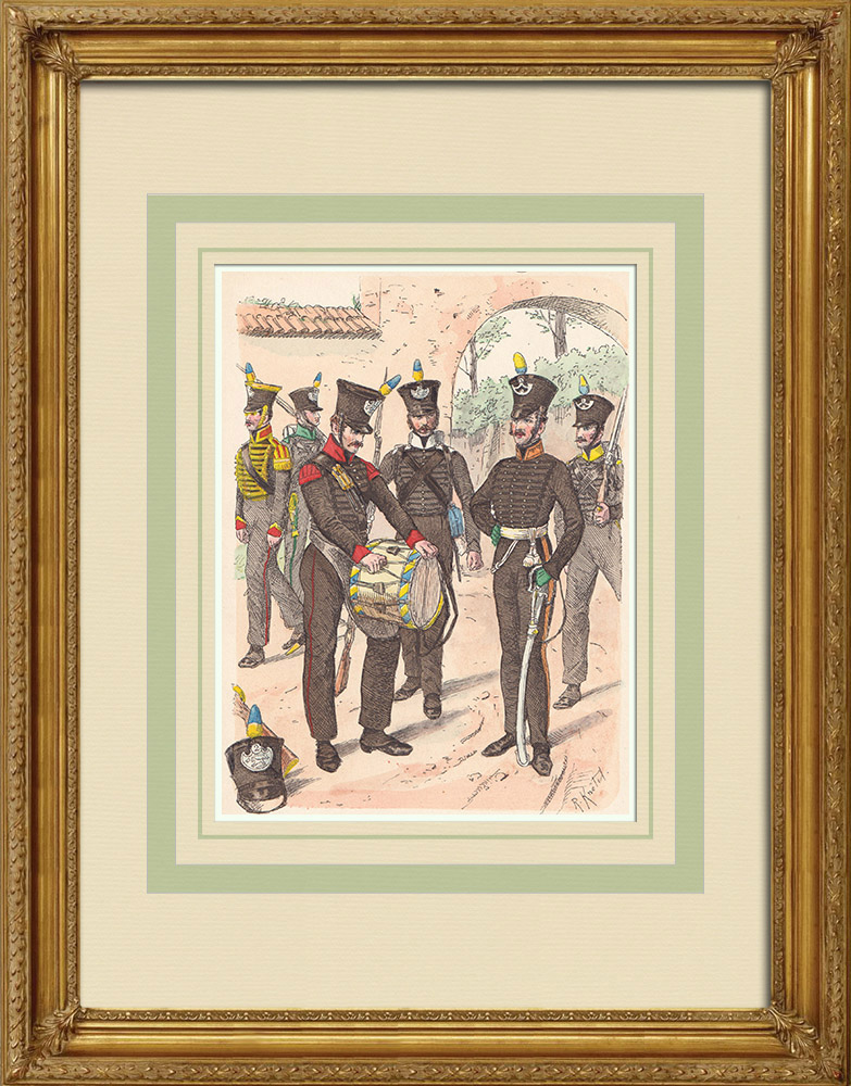 Antique Prints & Drawings | Infantry of Brunswick - Lower Saxony - Rhine Confederation (1815) | Wood engraving | 1890