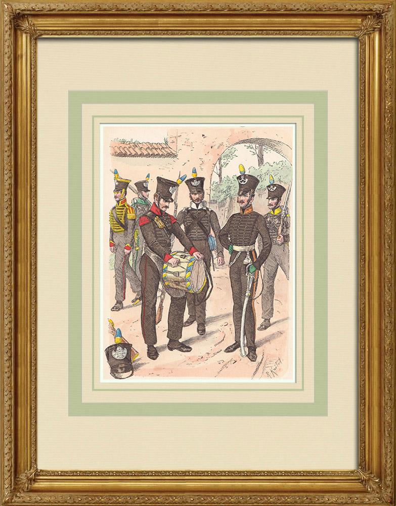 Stare Grafiki & Rysunki | Piechota Brunszwiku - Dolna Saksonia - Konfederacja Renu (1815) | Drzeworyt | 1890