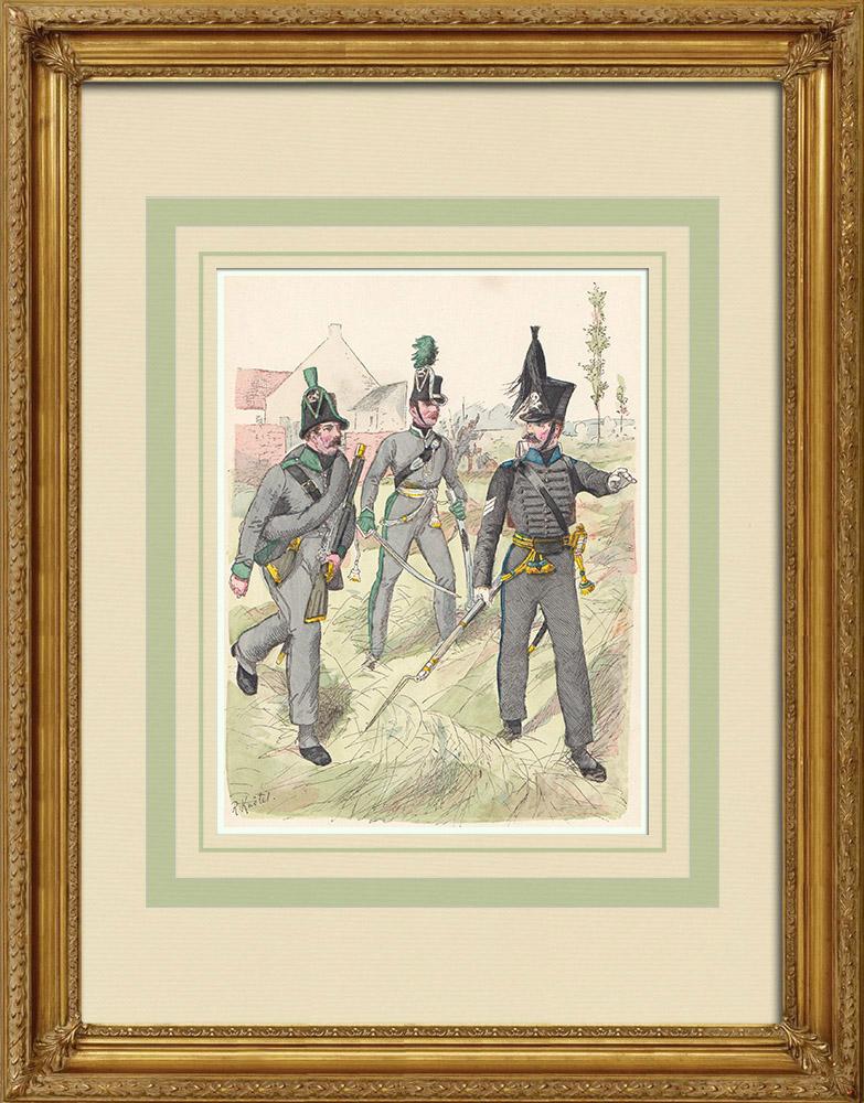 Grabados & Dibujos Antiguos | Cazadores de Brunswick - Baja Sajonia - Confederación del Rin (1815) | Grabado xilográfico | 1890