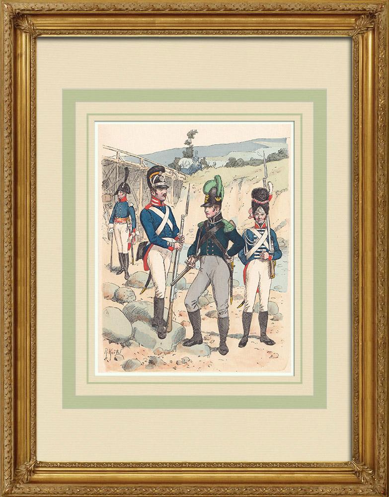 Grabados & Dibujos Antiguos | Regimiento de Infantería de Baden - Confederación del Rin - Traje militar (1812) | Grabado xilográfico | 1890