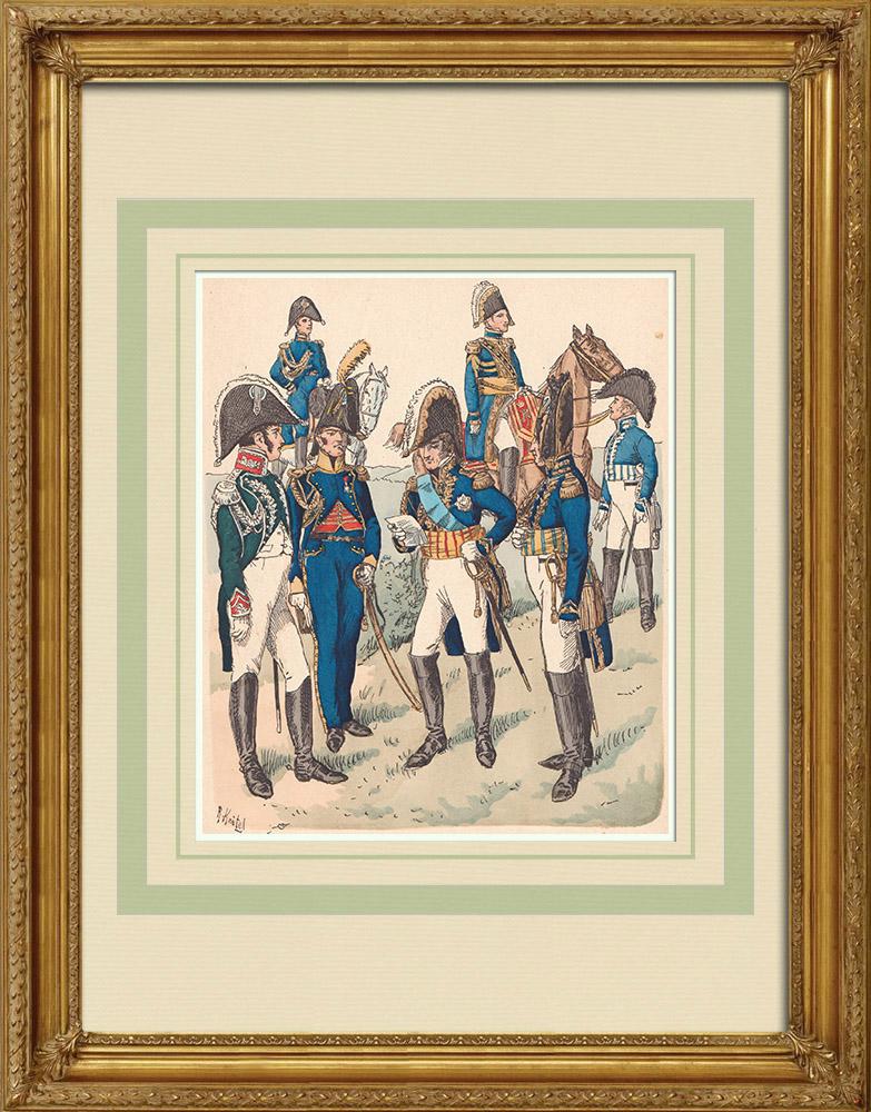 Oude Prenten & Tekeningen | Bewaker van het Westfalia Koninkrijk - Rijn Confederatie - Militair Uniform (1812) | Houtgravure | 1890