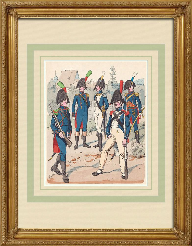 Oude Prenten & Tekeningen | Nationale Garde van het Westfalia Koninkrijk - Rijn Confederatie - Militair Uniform (1812) | Houtgravure | 1890