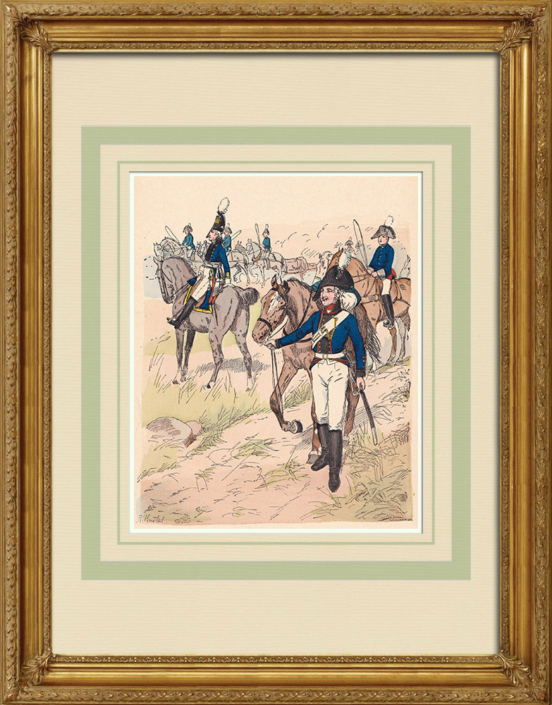 Antique Prints & Drawings | Horse artillery Prussia - Officer - Military uniform (1805) | Wood engraving | 1890